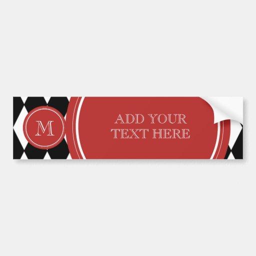 Black White Harlequin Pattern, Red Monogram Bumper Sticker