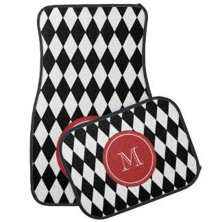 Black White Harlequin Pattern, Red Monogram Car Mat