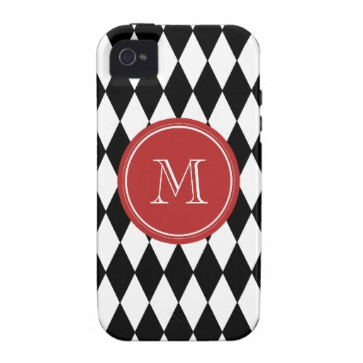 Black White Harlequin Pattern, Red Monogram Case-Mate iPhone 4 Covers