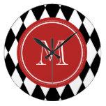 Black White Harlequin Pattern, Red Monogram Wall Clocks