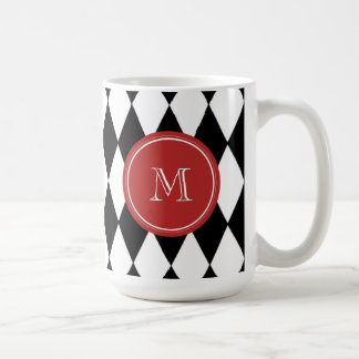 Black White Harlequin Pattern, Red Monogram Coffee Mug