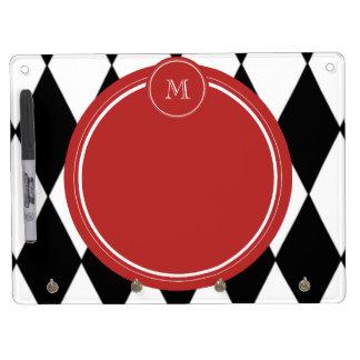 Black White Harlequin Pattern Red Monogram Dry-Erase Whiteboards