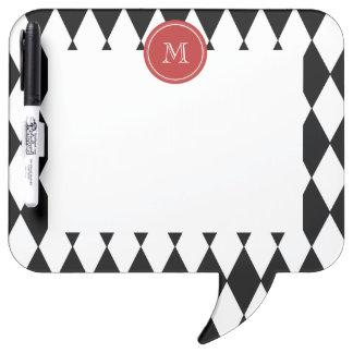 Black White Harlequin Pattern Red Monogram Dry-Erase Board
