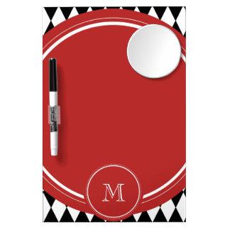 Black White Harlequin Pattern Red Monogram Dry-Erase Whiteboard