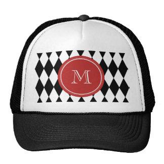 Black White Harlequin Pattern, Red Monogram Trucker Hat