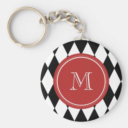 Black White Harlequin Pattern, Red Monogram Keychains
