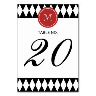 Black White Harlequin Pattern, Red Monogram Table Cards