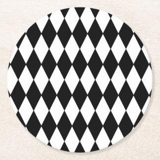 Black White Harlequin Pattern Round Paper Coaster