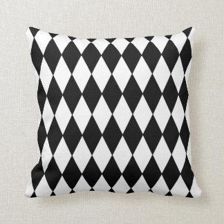 Black White Harlequin Pattern Throw Pillow