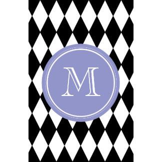Black White Harlequin Pattern Violet Monogram Wall Calendars