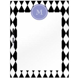 Black White Harlequin Pattern Violet Monogram Dry Erase Board