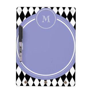 Black White Harlequin Pattern Violet Monogram Dry Erase Whiteboard