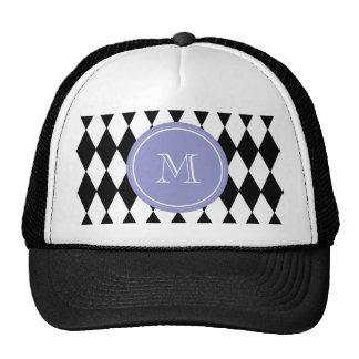Black White Harlequin Pattern, Violet Monogram Trucker Hat