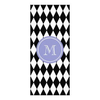 Black White Harlequin Pattern, Violet Monogram Custom Invites