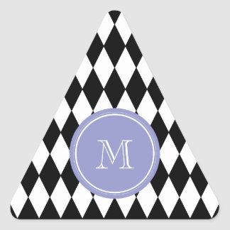 Black White Harlequin Pattern, Violet Monogram Triangle Sticker