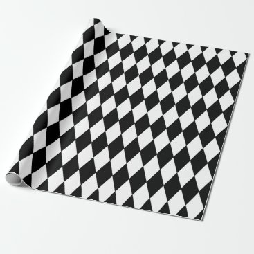 GraphicsByMimi Black White Harlequin Pattern Wrapping Paper