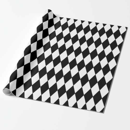 black white harlequin pattern wrapping paper zazzle. Black Bedroom Furniture Sets. Home Design Ideas