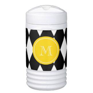 Black White Harlequin Pattern, Yellow Monogram Beverage Cooler