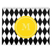 Black White Harlequin Pattern, Yellow Monogram Calendar