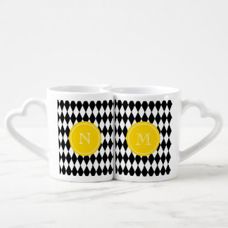Black White Harlequin Pattern, Yellow Monogram Coffee Mug Set