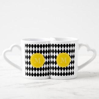 Black White Harlequin Pattern, Yellow Monogram Coffee Mug Set