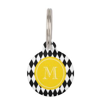Black White Harlequin Pattern, Yellow Monogram Pet Nametags