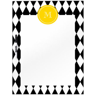Black White Harlequin Pattern Yellow Monogram Dry Erase Whiteboards