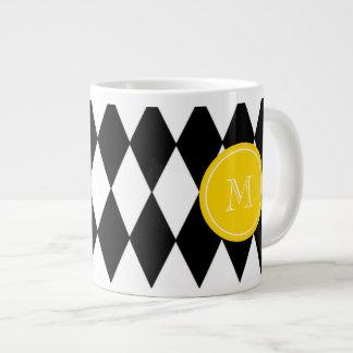 Black White Harlequin Pattern, Yellow Monogram Giant Coffee Mug