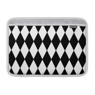 Black White Harlequin Pattern, Yellow Monogram MacBook Sleeve