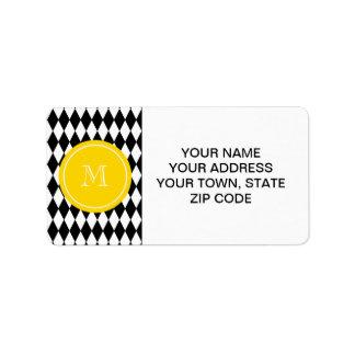 Black White Harlequin Pattern, Yellow Monogram Label