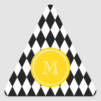 Black White Harlequin Pattern, Yellow Monogram Triangle Sticker