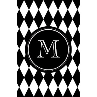Black White Harlequin Pattern Your Initial Calendar