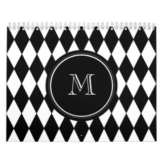 Black White Harlequin Pattern Your Initial Calendar