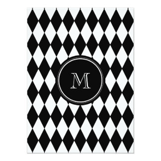 Black White Harlequin Pattern, Your Initial Card