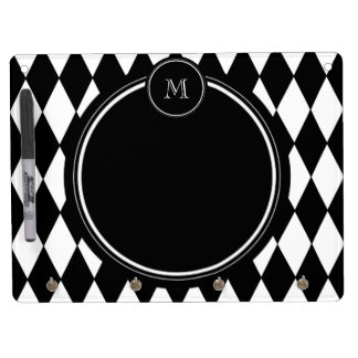 Black White Harlequin Pattern Your Initial Dry-Erase Whiteboard