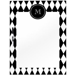 Black White Harlequin Pattern Your Initial Dry-Erase Boards