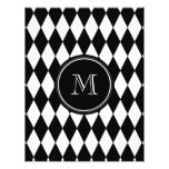 Black White Harlequin Pattern, Your Initial Full Color Flyer