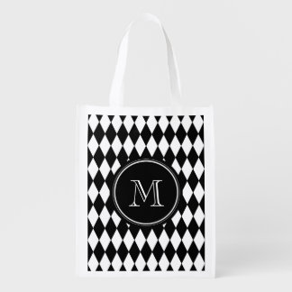 Black White Harlequin Pattern, Your Initial Grocery Bags