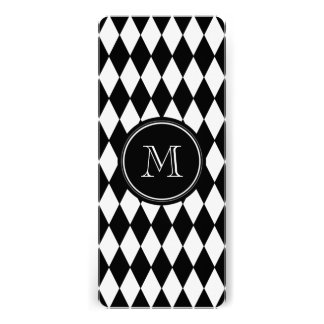 Black White Harlequin Pattern, Your Initial Invitations