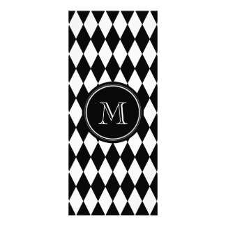 Black White Harlequin Pattern, Your Initial Custom Announcements