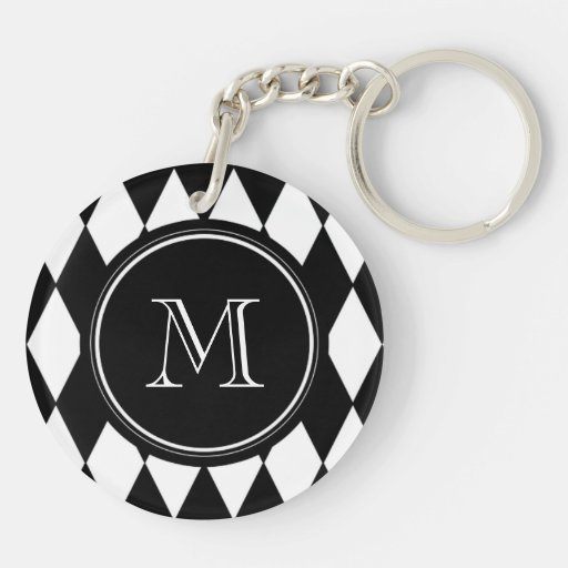 Black White Harlequin Pattern, Your Initial Acrylic Keychain