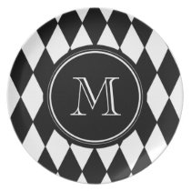 Black White Harlequin Pattern, Your Initial Melamine Plate