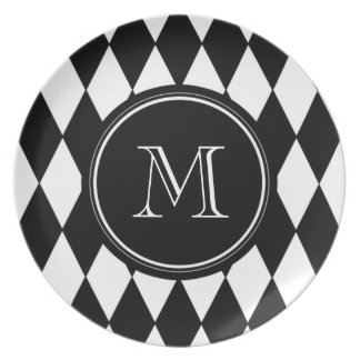 Black White Harlequin Pattern, Your Initial Melamine Plate