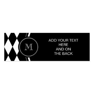 Black White Harlequin Pattern, Your Initial Mini Business Card