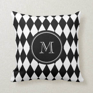 Black White Harlequin Pattern, Your Initial Throw Pillows