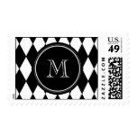 Black White Harlequin Pattern, Your Initial Stamps