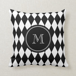 Black White Harlequin Pattern, Your Initial Throw Pillow at Zazzle
