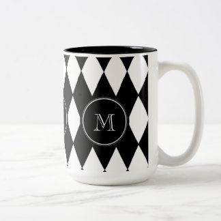 Black White Harlequin Pattern, Your Initial Two-Tone Coffee Mug
