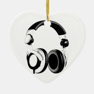 Black & White Headphone Artwork Ceramic Ornament
