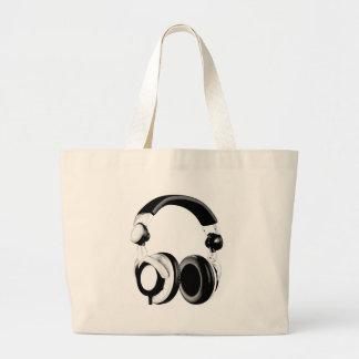 Black & White Headphone Artwork Large Tote Bag